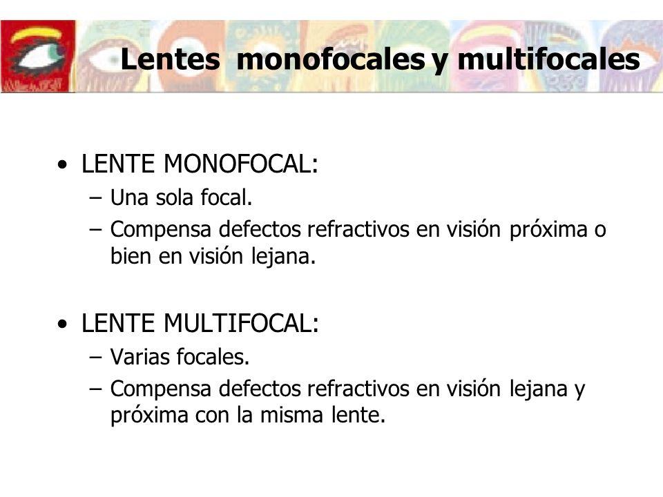 Lentes monofocales y multifocales LENTE MONOFOCAL: –Una sola focal. –Compensa defectos refractivos en visión próxima o bien en visión lejana. LENTE MU