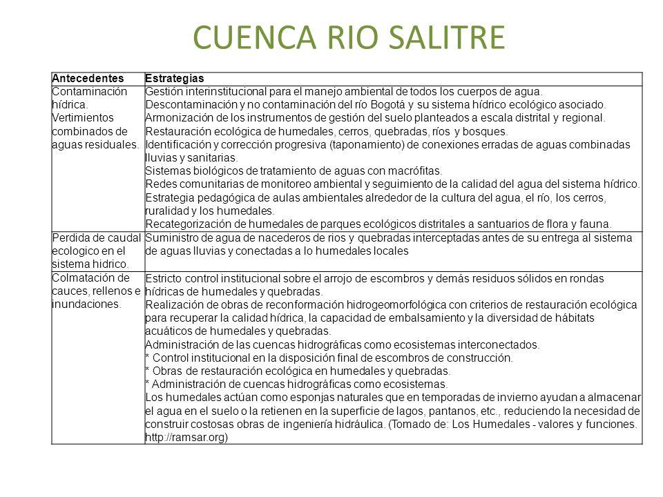 CUENCA RIO SALITRE AntecedentesEstrategias Contaminación hídrica. Vertimientos combinados de aguas residuales. Gestión interinstitucional para el mane
