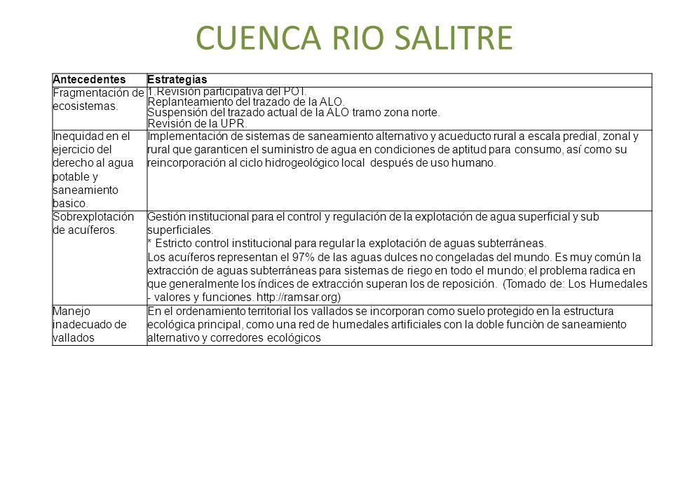 CUENCA RIO SALITRE AntecedentesEstrategias Fragmentación de ecosistemas. 1.Revisión participativa del POT. Replanteamiento del trazado de la ALO. Susp