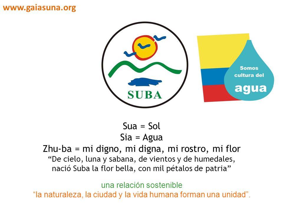 Sua = Sol Sia = Agua Zhu-ba = mi digno, mi digna, mi rostro, mi flor De cielo, luna y sabana, de vientos y de humedales, nació Suba la flor bella, con