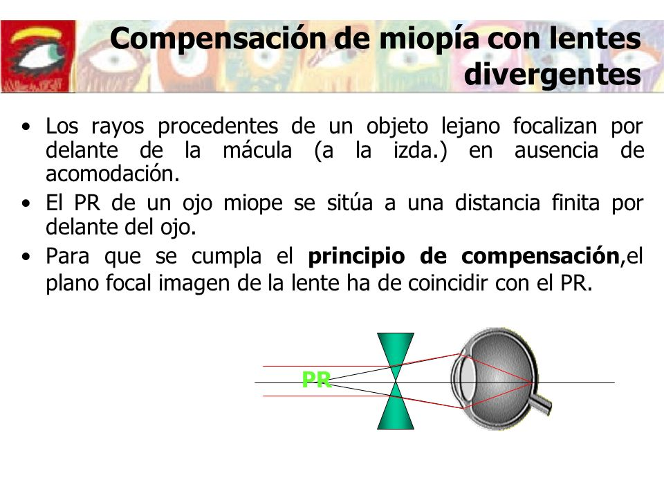 Compensación de hipermetropía con lentes convergentes PR Los rayos procedentes de un objeto lejano focalizan a la derecha de la mácula en ausencia de acomodación.