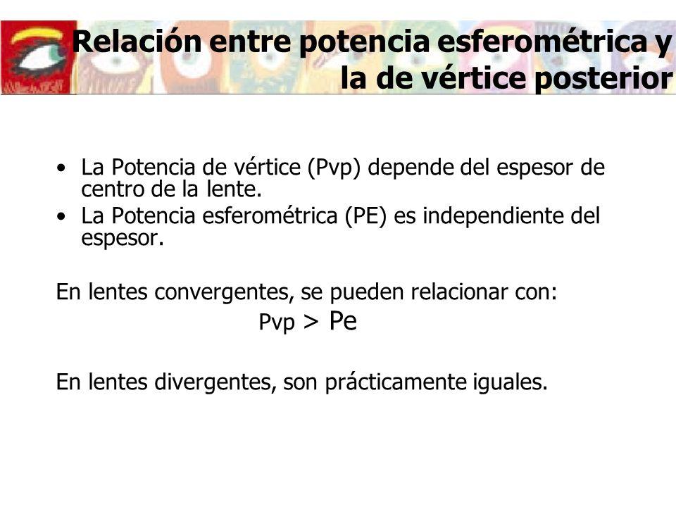 La Potencia de vértice (Pvp) depende del espesor de centro de la lente. La Potencia esferométrica (PE) es independiente del espesor. En lentes converg