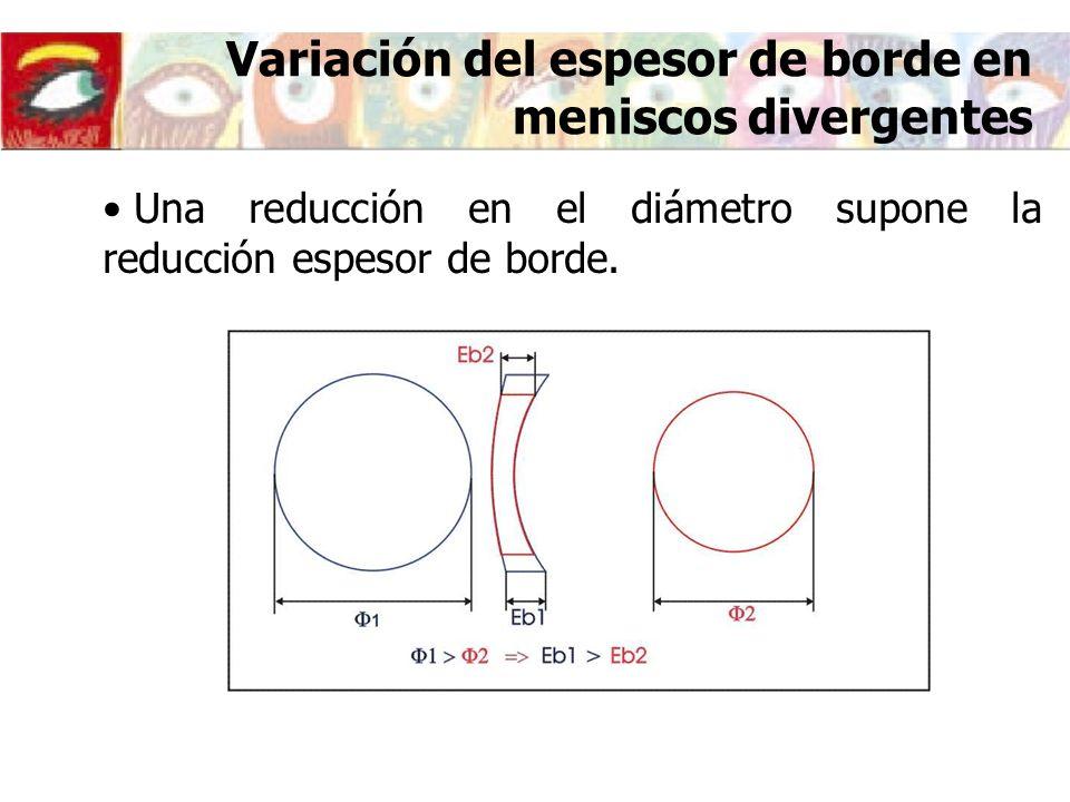 Variación del espesor de borde en meniscos divergentes Una reducción en el diámetro supone la reducción espesor de borde.
