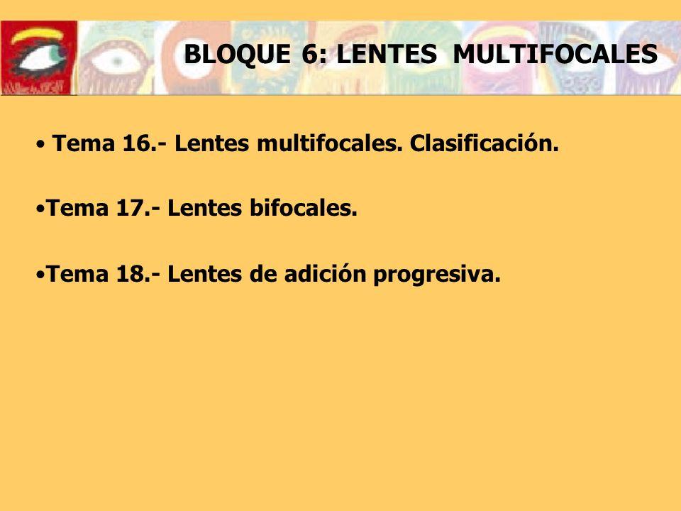 BLOQUE 6: LENTES MULTIFOCALES Tema 16.- Lentes multifocales.