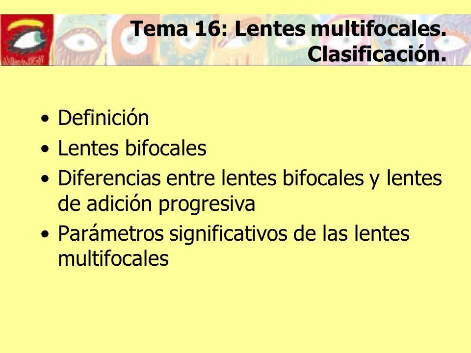 Tema 16: Lentes multifocales.Clasificación.