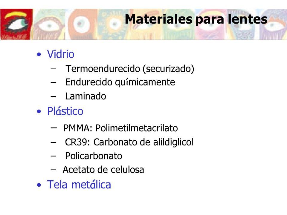 Materiales para lentes Vidrio – Termoendurecido (securizado) –Endurecido qu í micamente –Laminado Pl á stico – PMMA: Polimetilmetacrilato –CR39: Carbo