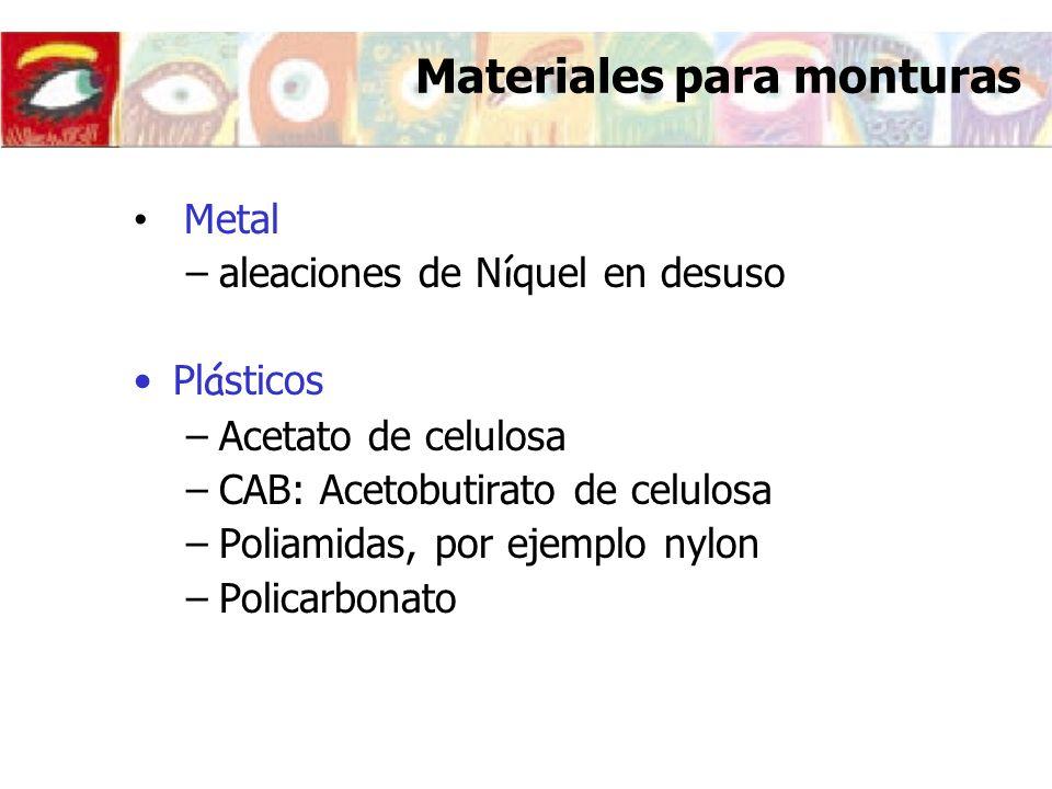 Materiales para monturas Metal –aleaciones de N í quel en desuso Pl á sticos –Acetato de celulosa –CAB: Acetobutirato de celulosa –Poliamidas, por eje
