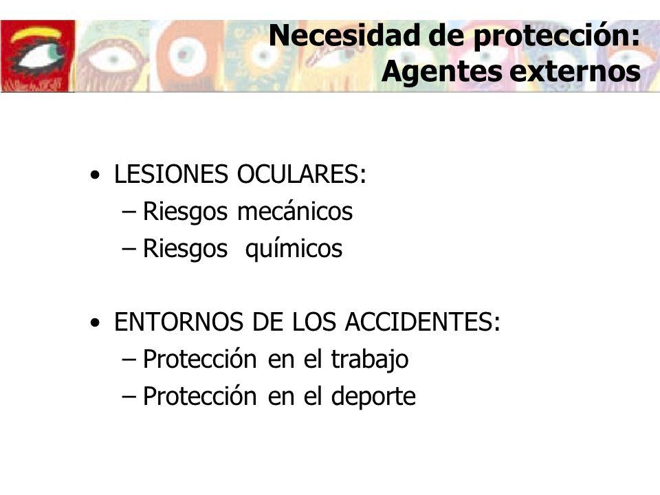 Necesidad de protección: Agentes externos LESIONES OCULARES: –Riesgos mecánicos –Riesgos químicos ENTORNOS DE LOS ACCIDENTES: –Protección en el trabaj