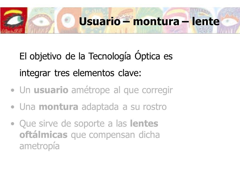 Usuario – montura – lente El objetivo de la Tecnología Óptica es integrar tres elementos clave: Un usuario amétrope al que corregir Una montura adapta