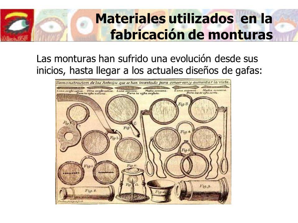 Las monturas han sufrido una evolución desde sus inicios, hasta llegar a los actuales diseños de gafas: Materiales utilizados en la fabricación de mon