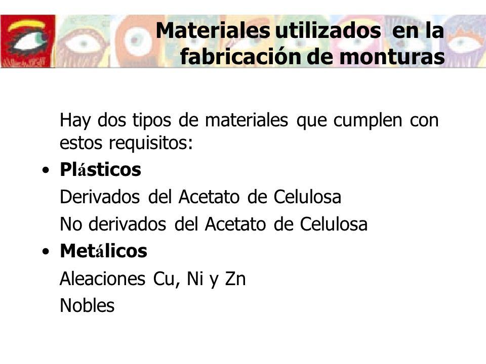 Hay dos tipos de materiales que cumplen con estos requisitos: Pl á sticos Derivados del Acetato de Celulosa No derivados del Acetato de Celulosa Met á