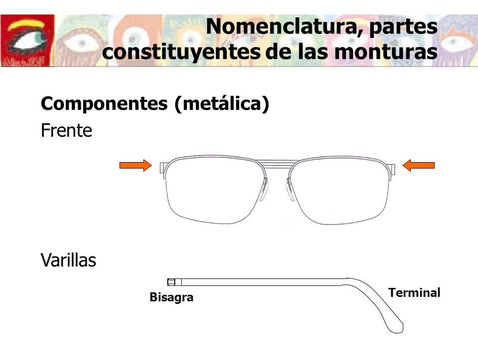 Nomenclatura, partes constituyentes de las monturas Componentes (metálica) Frente Varillas Bisagra Terminal