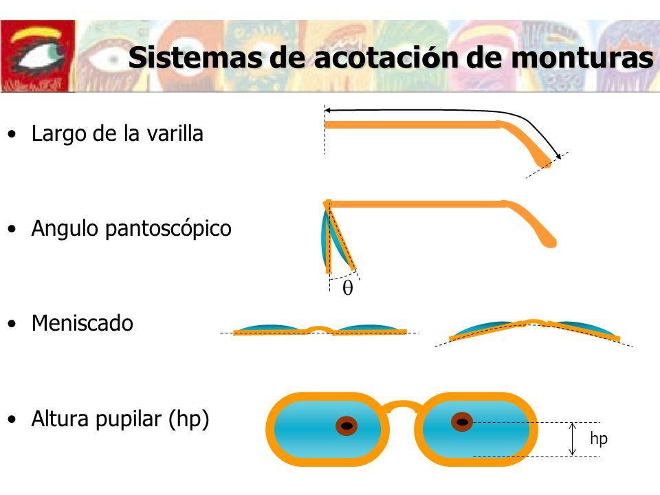 Sistemas de acotaci ó n de monturas Largo de la varilla Angulo pantoscópico Meniscado Altura pupilar (hp) hp