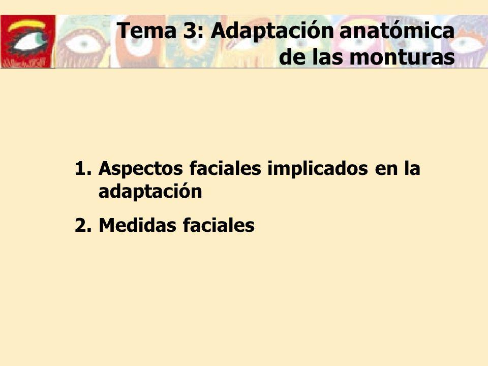 1.Aspectos faciales implicados en la adaptación 2.Medidas faciales Tema 3: Adaptación anatómica de las monturas