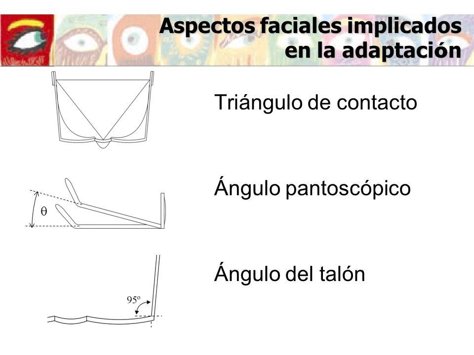 Ángulo pantoscópico Ángulo del talón Aspectos faciales implicados en la adaptaci ó n