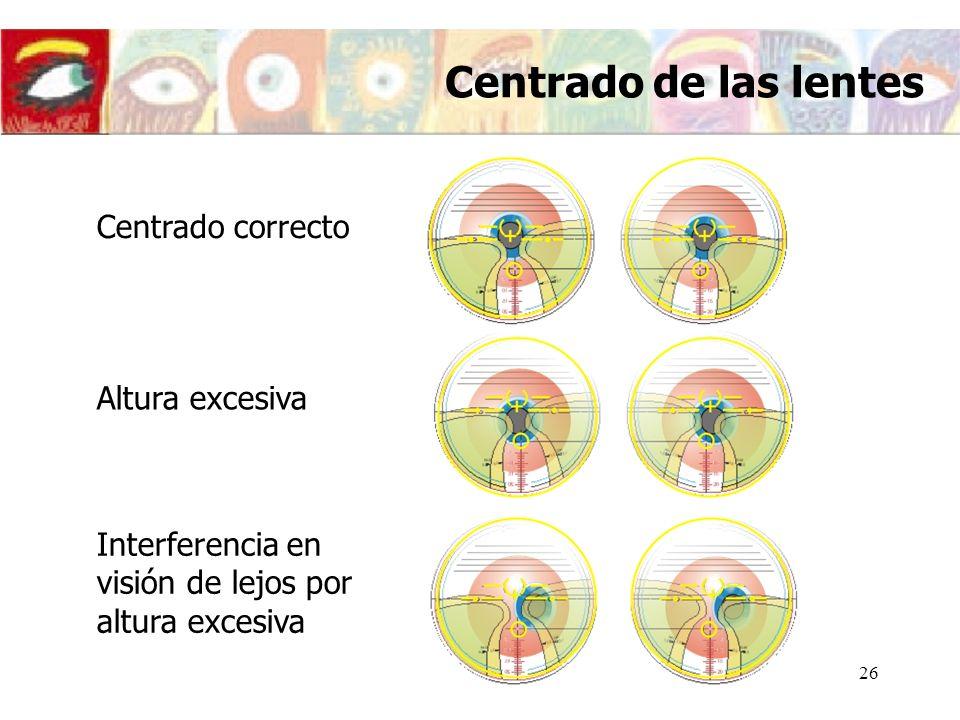 27 Altura Insuficiente En la posición de mirada de cerca habitual no se ve correctamente Es necesario inclinar la cabeza hacia arriba para bajar el eje visual Centrado de las lentes