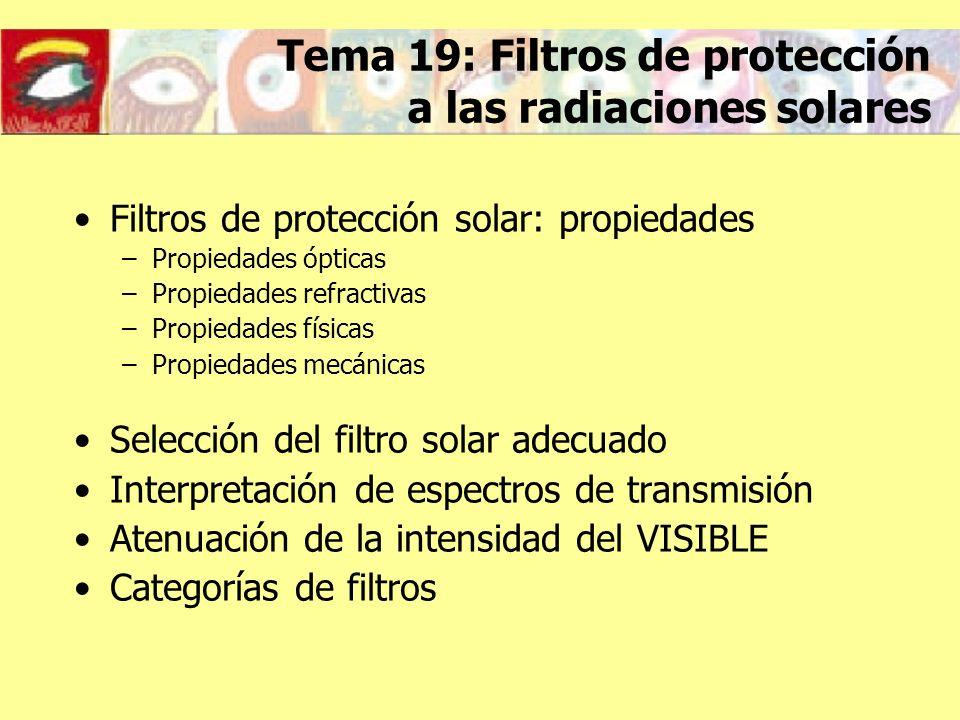 Filtros de protección solar: propiedades Propiedades ópticas –Transmisión –Densidad óptica Propiedades refractivas –Potencia de vértice posterior –Potencia prismática
