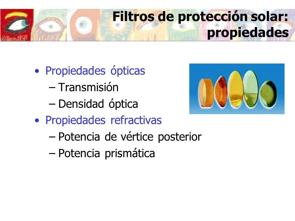 Filtros de protección solar: propiedades Propiedades ópticas –Transmisión –Densidad óptica Propiedades refractivas –Potencia de vértice posterior –Pot