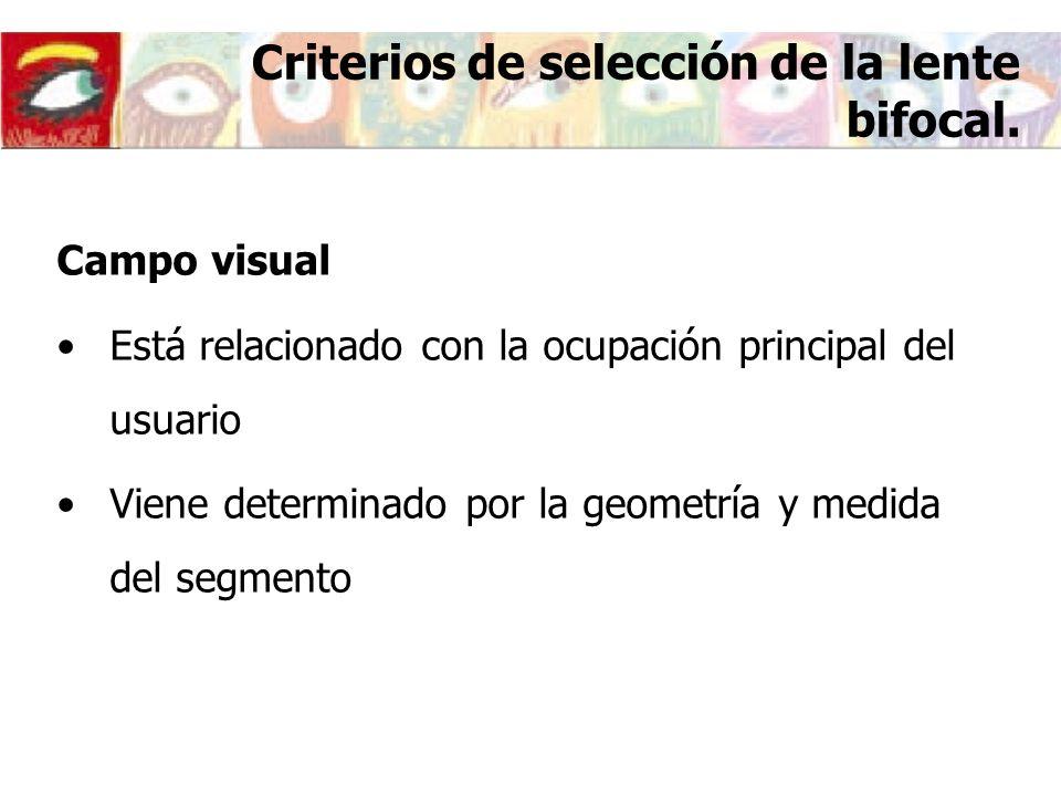 Criterios de selección de la lente bifocal. Campo visual Está relacionado con la ocupación principal del usuario Viene determinado por la geometría y