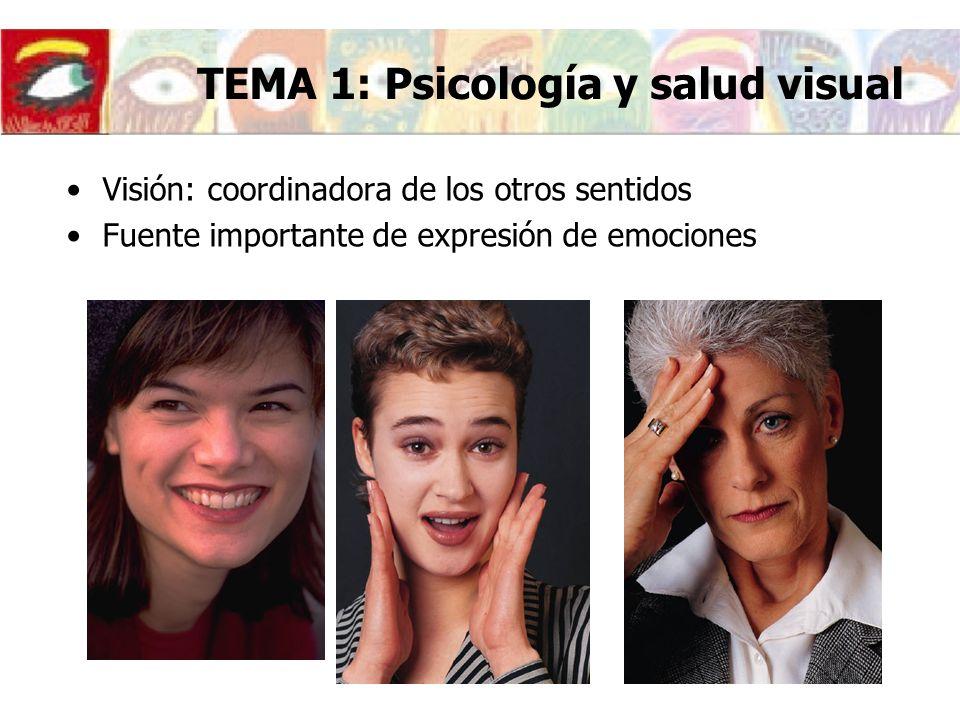 Visión: coordinadora de los otros sentidos Fuente importante de expresión de emociones TEMA 1: Psicología y salud visual
