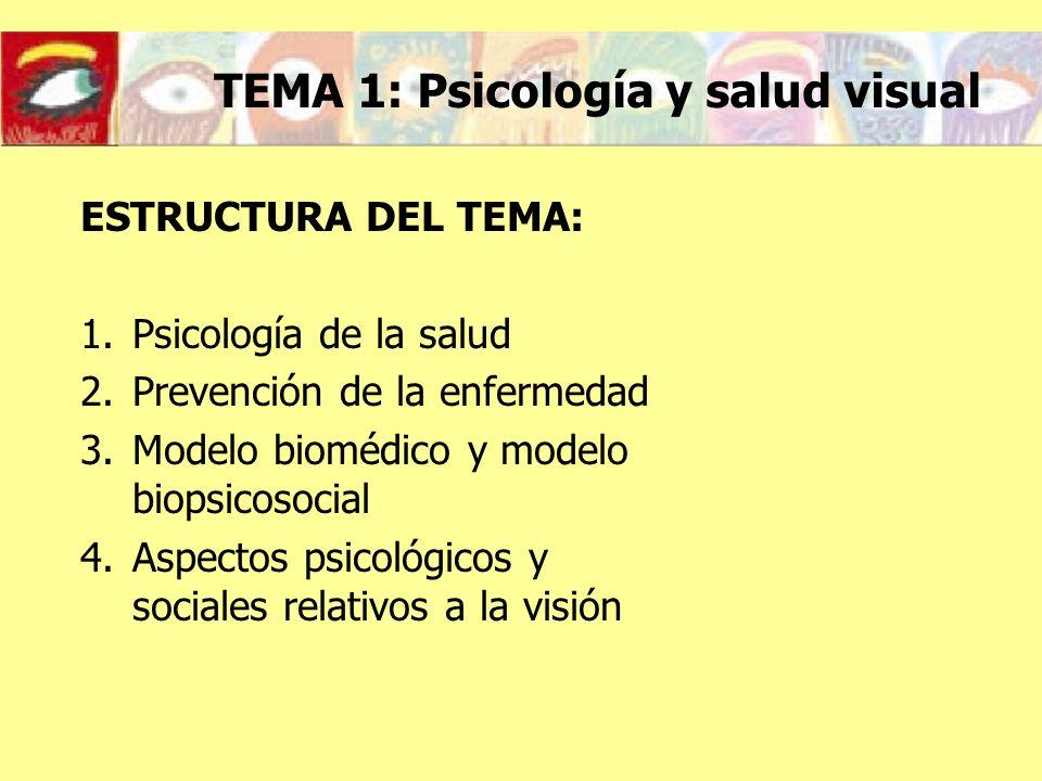 TEMA 1: Psicología y salud visual ESTRUCTURA DEL TEMA: 1.Psicología de la salud 2.Prevención de la enfermedad 3.Modelo biomédico y modelo biopsicosoci