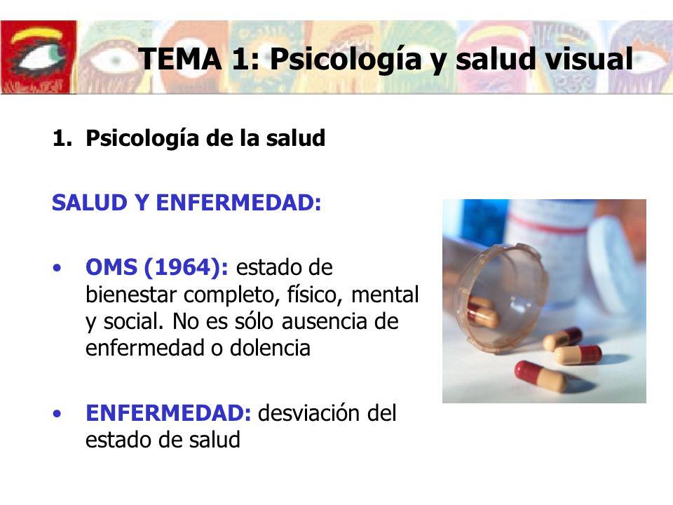 Conducta de enfermedad: respuesta global del individuo a la enfermedad La enfermedad tiene un significado diferente para cada individuo, lo que condiciona su evolución e incluso su aparición TEMA 1: Psicología y salud visual