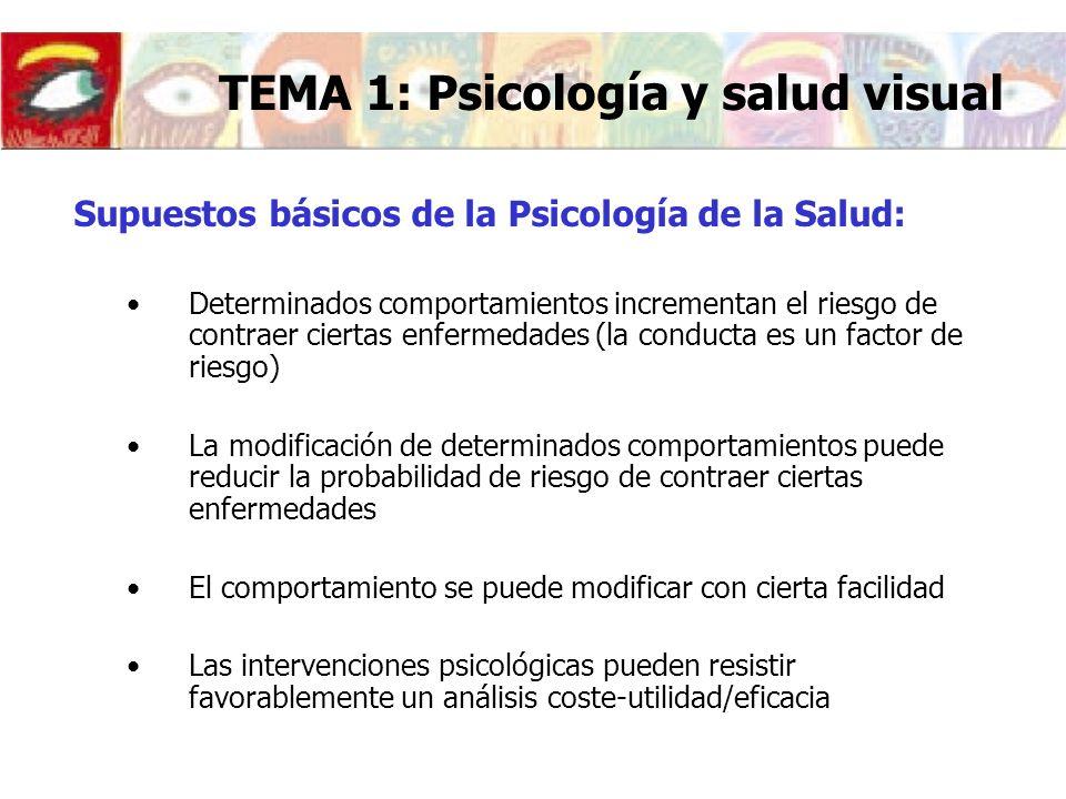 Desconcierto si falla esta información Gafas o lentes de contacto: alteración de la propia imagen TEMA 1: Psicología y salud visual