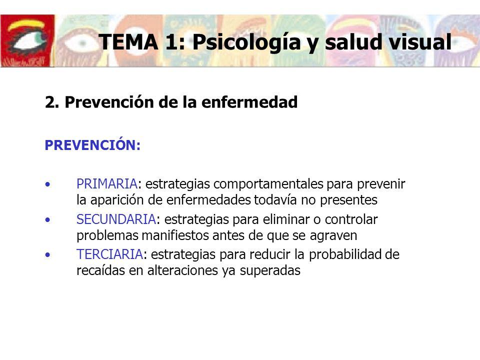 2. Prevención de la enfermedad PREVENCIÓN: PRIMARIA: estrategias comportamentales para prevenir la aparición de enfermedades todavía no presentes SECU