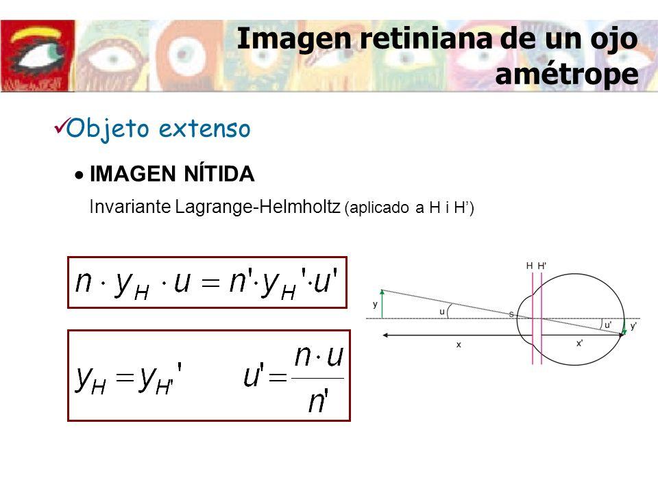 Imagen retiniana de un ojo amétrope Invariante Lagrange-Helmholtz (aplicado a H i H) IMAGEN NÍTIDA Objeto extenso