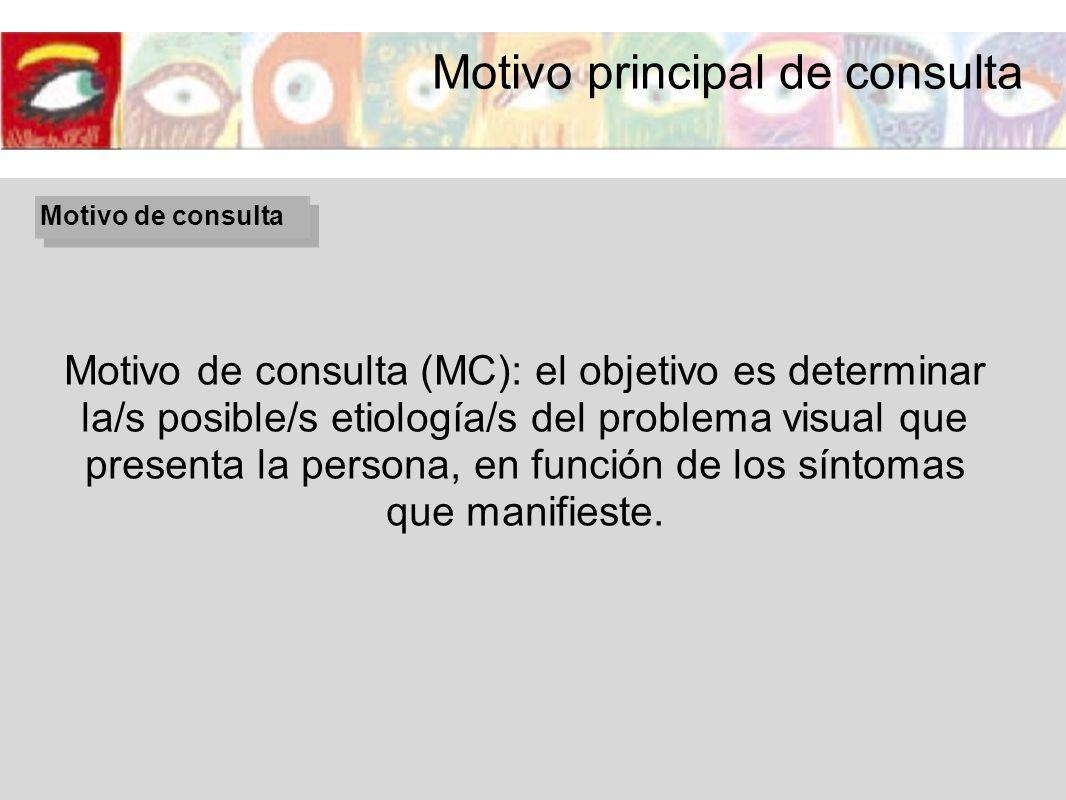 Motivo de consulta Motivo de consulta (MC): el objetivo es determinar la/s posible/s etiología/s del problema visual que presenta la persona, en funci