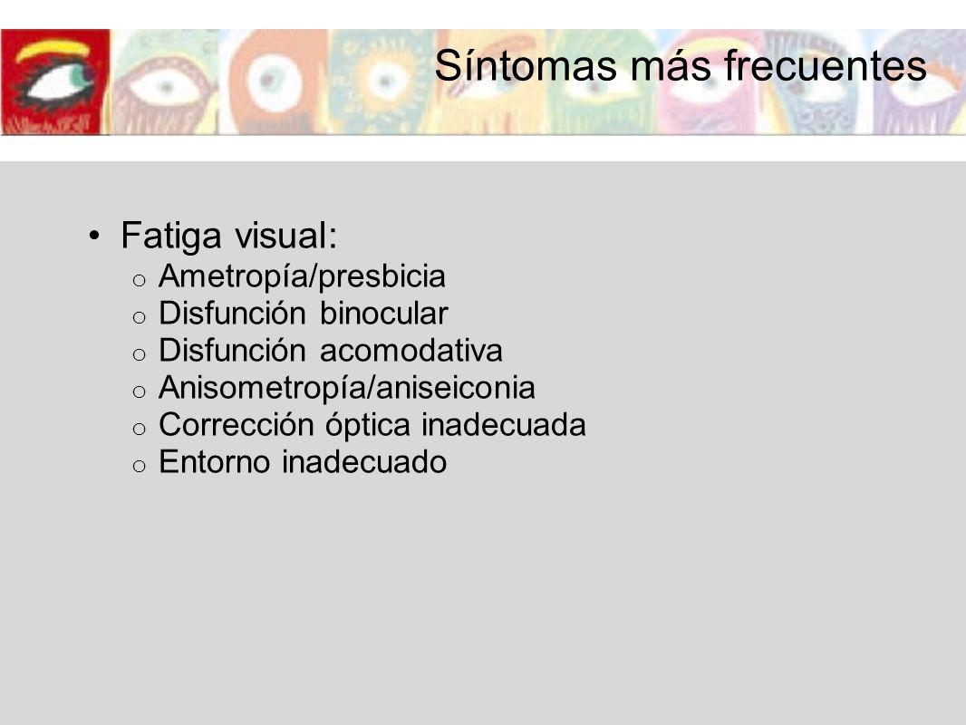 Fatiga visual: o Ametropía/presbicia o Disfunción binocular o Disfunción acomodativa o Anisometropía/aniseiconia o Corrección óptica inadecuada o Ento