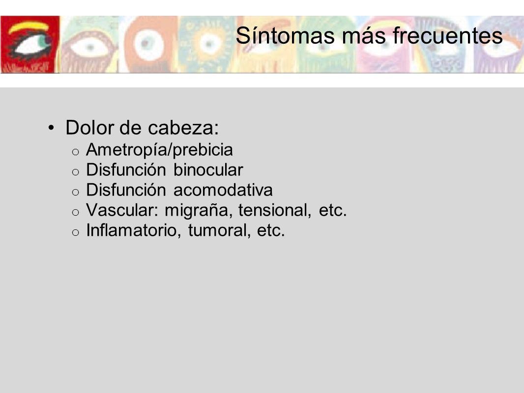 Síntomas más frecuentes Dolor de cabeza: o Ametropía/prebicia o Disfunción binocular o Disfunción acomodativa o Vascular: migraña, tensional, etc. o I