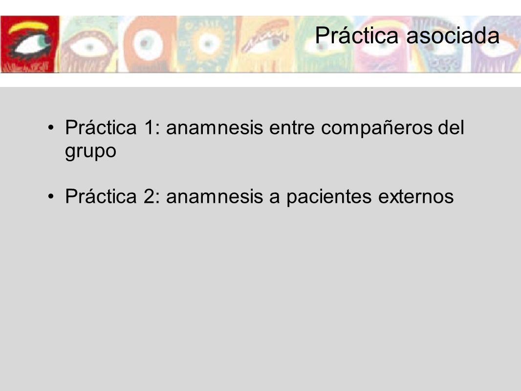 Práctica asociada Práctica 1: anamnesis entre compañeros del grupo Práctica 2: anamnesis a pacientes externos