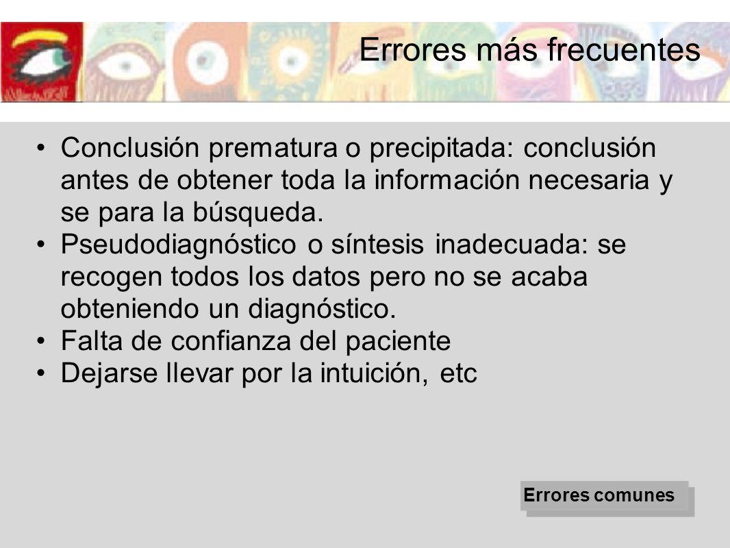 Conclusión prematura o precipitada: conclusión antes de obtener toda la información necesaria y se para la búsqueda. Pseudodiagnóstico o síntesis inad