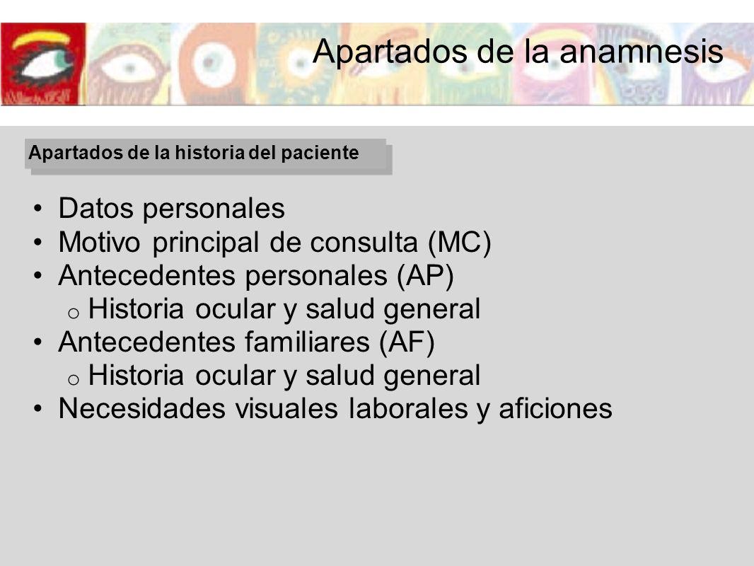 Datos personales Motivo principal de consulta (MC) Antecedentes personales (AP) o Historia ocular y salud general Antecedentes familiares (AF) o Histo
