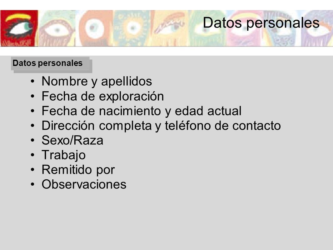 Datos personales Nombre y apellidos Fecha de exploración Fecha de nacimiento y edad actual Dirección completa y teléfono de contacto Sexo/Raza Trabajo