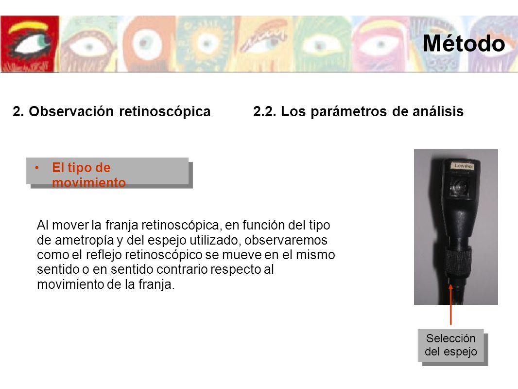 El tipo de movimiento Al mover la franja retinoscópica, en función del tipo de ametropía y del espejo utilizado, observaremos como el reflejo retinosc
