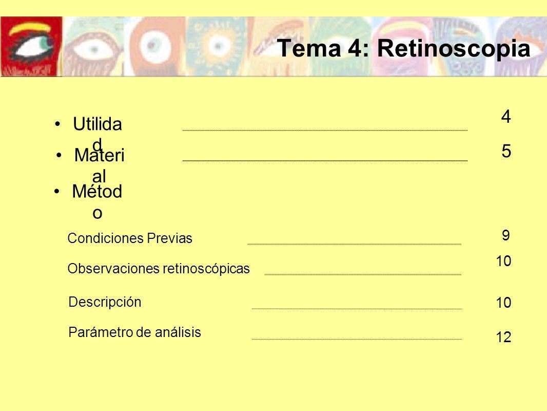Tema 4: Retinoscopia Métod o Utilida d Materi al 4 5 9 12 Condiciones Previas Observaciones retinoscópicas 10 Descripción Parámetro de análisis 10