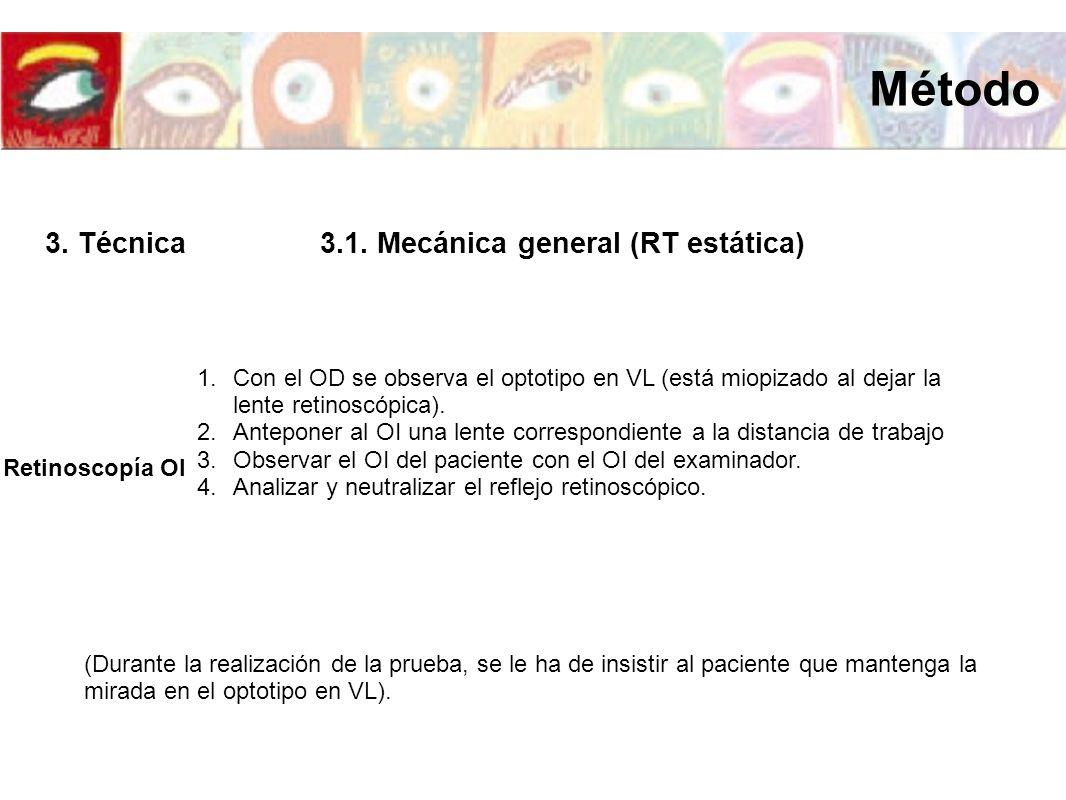 Retinoscopía OI 1.Con el OD se observa el optotipo en VL (está miopizado al dejar la lente retinoscópica). 2.Anteponer al OI una lente correspondiente