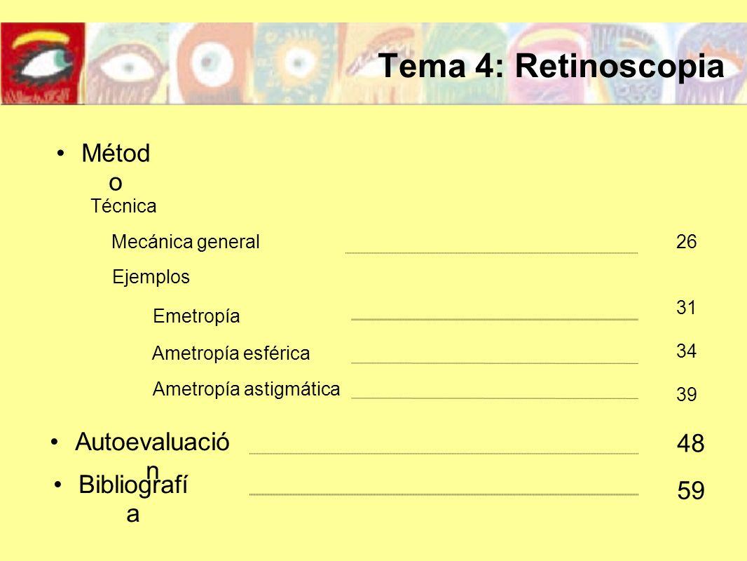 Tema 4: Retinoscopia Métod o Autoevaluació n Bibliografí a 48 59 31 39 Técnica Mecánica general26 Ejemplos Emetropía 34 Ametropía esférica Ametropía a