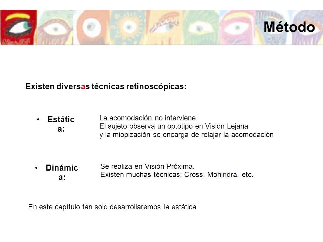 Existen diversas técnicas retinoscópicas: Estátic a: La acomodación no interviene. El sujeto observa un optotipo en Visión Lejana y la miopización se
