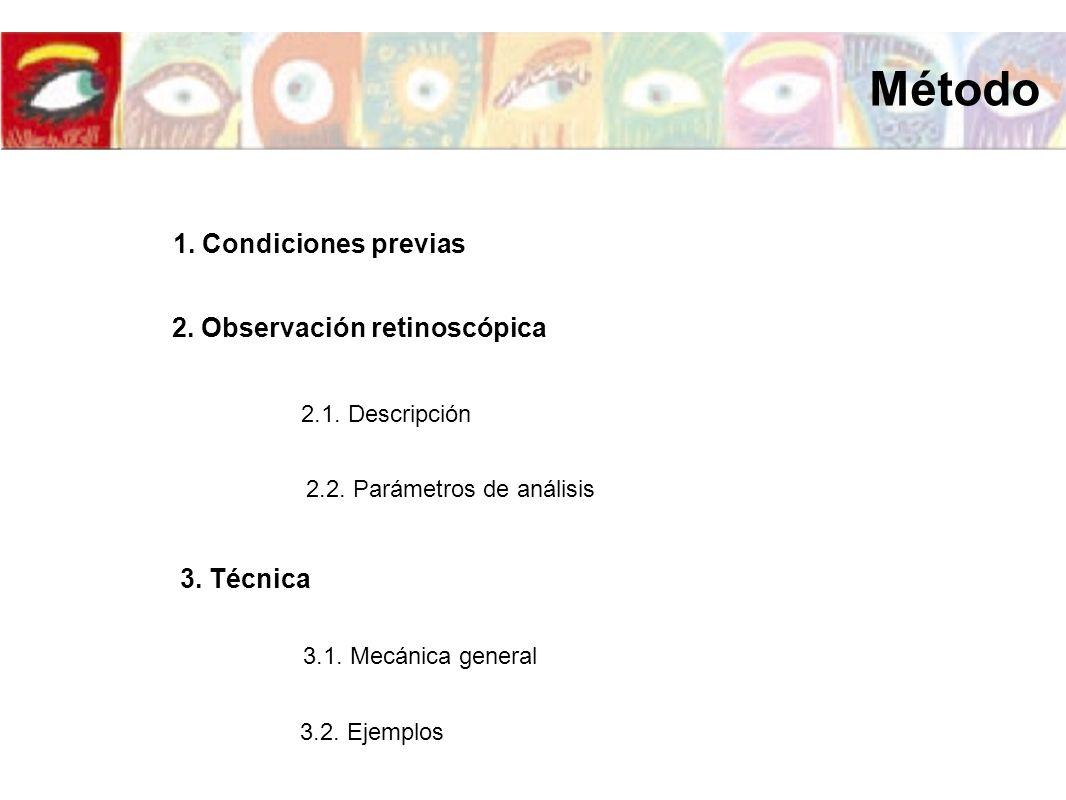 1.Ojo emétrope 2. Ametropía esférica 3. Ametropía astigmática -3,00D 180º -3,00D 90º Método 3.
