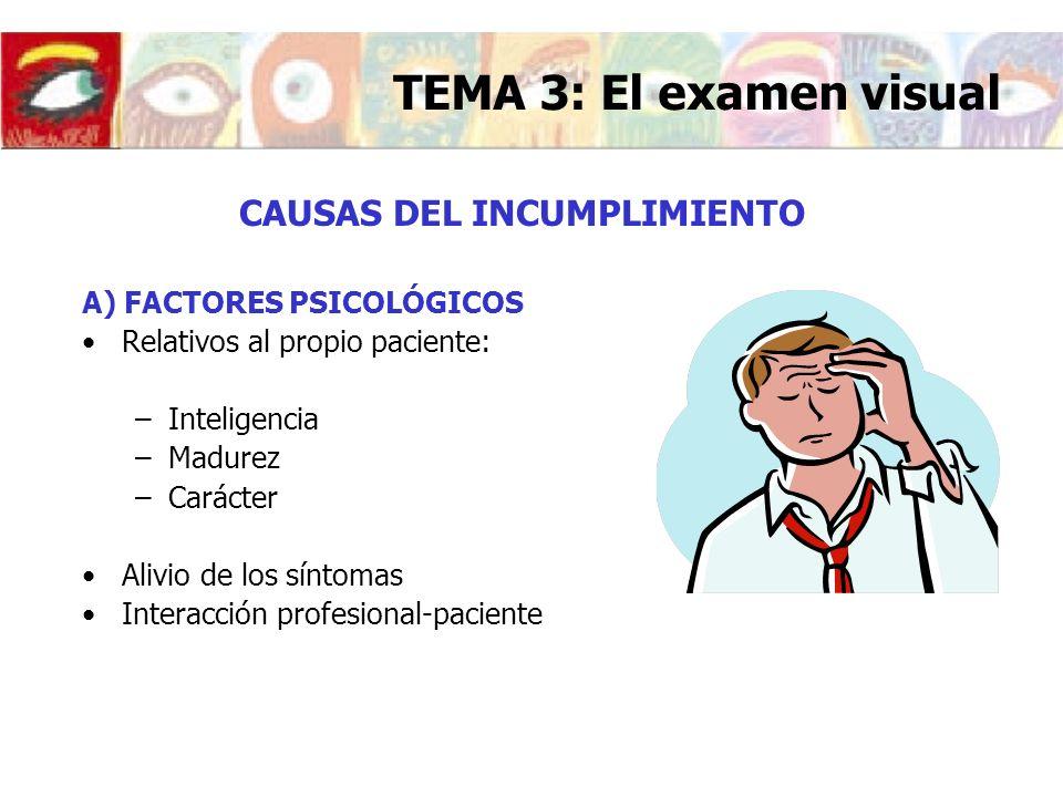 CAUSAS DEL INCUMPLIMIENTO A) FACTORES PSICOLÓGICOS Relativos al propio paciente: –Inteligencia –Madurez –Carácter Alivio de los síntomas Interacción p