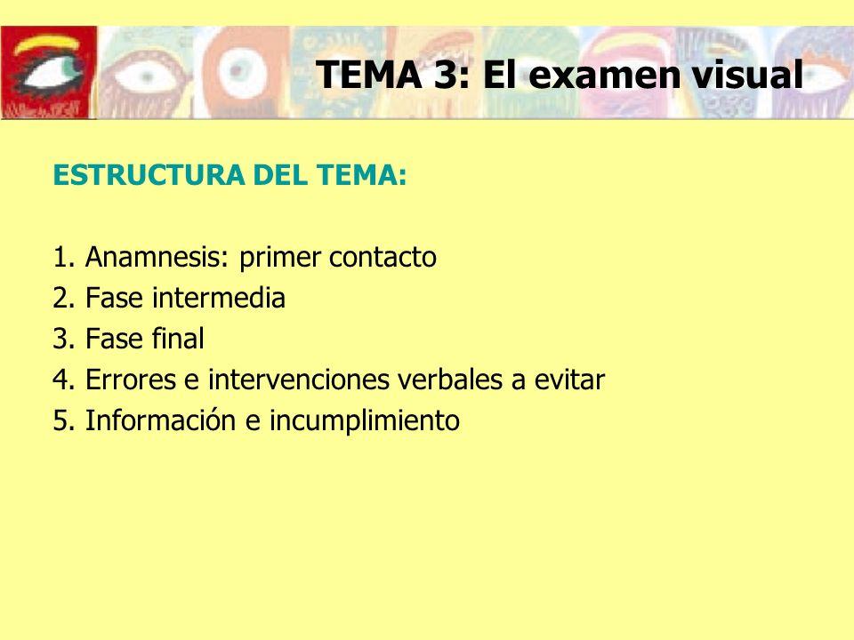 ESTRUCTURA DEL TEMA: 1. Anamnesis: primer contacto 2. Fase intermedia 3. Fase final 4. Errores e intervenciones verbales a evitar 5. Información e inc
