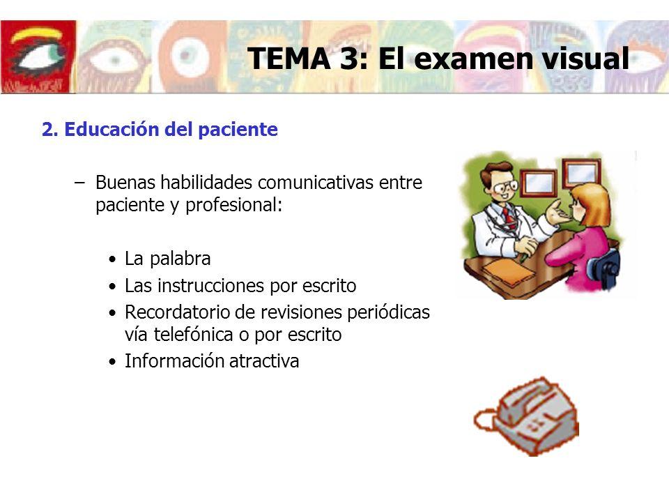 2. Educación del paciente –Buenas habilidades comunicativas entre paciente y profesional: La palabra Las instrucciones por escrito Recordatorio de rev