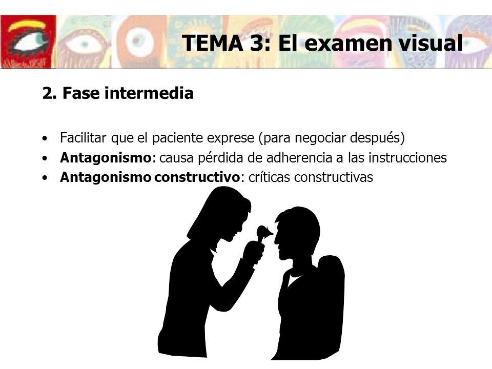 2. Fase intermedia Facilitar que el paciente exprese (para negociar después) Antagonismo: causa pérdida de adherencia a las instrucciones Antagonismo