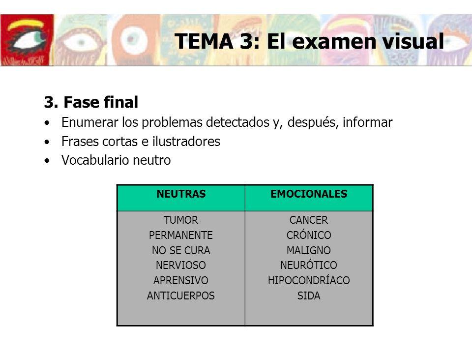 3. Fase final Enumerar los problemas detectados y, después, informar Frases cortas e ilustradores Vocabulario neutro NEUTRASEMOCIONALES TUMOR PERMANEN