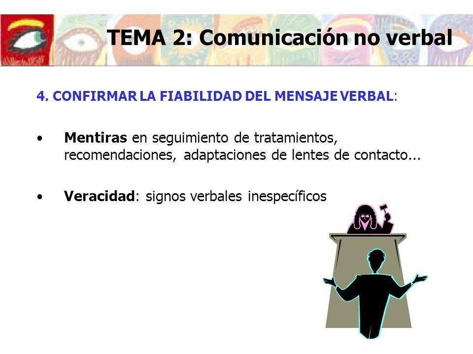 4. CONFIRMAR LA FIABILIDAD DEL MENSAJE VERBAL : Mentiras en seguimiento de tratamientos, recomendaciones, adaptaciones de lentes de contacto... Veraci