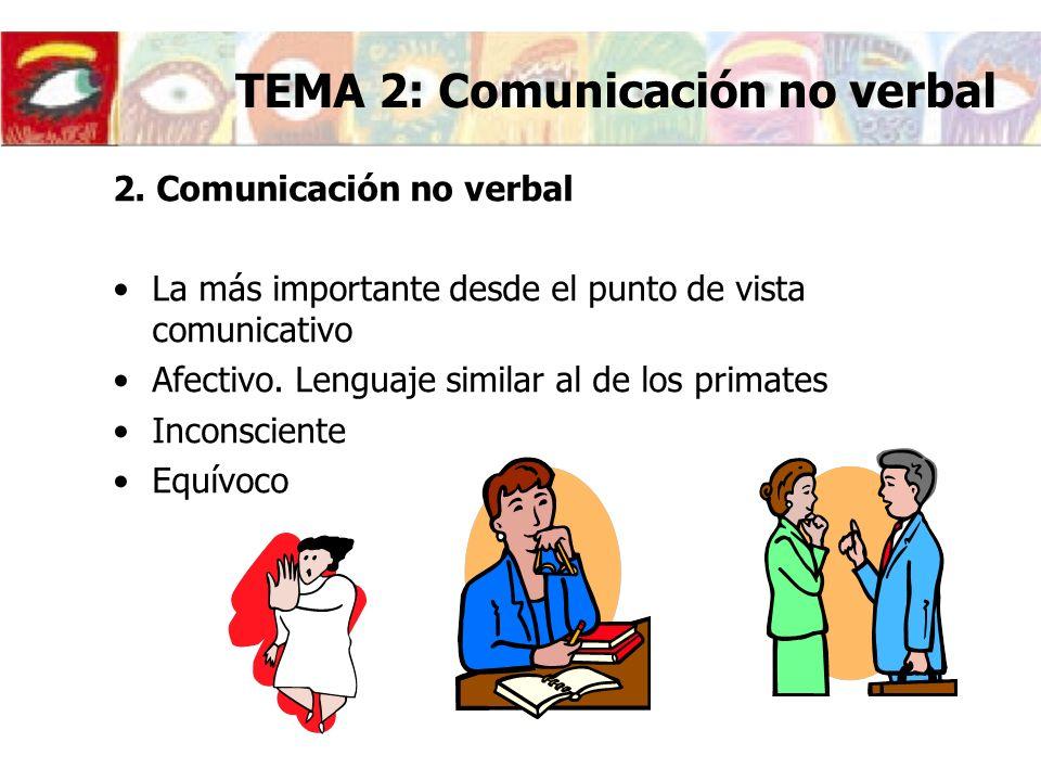 2. Comunicación no verbal La más importante desde el punto de vista comunicativo Afectivo. Lenguaje similar al de los primates Inconsciente Equívoco T