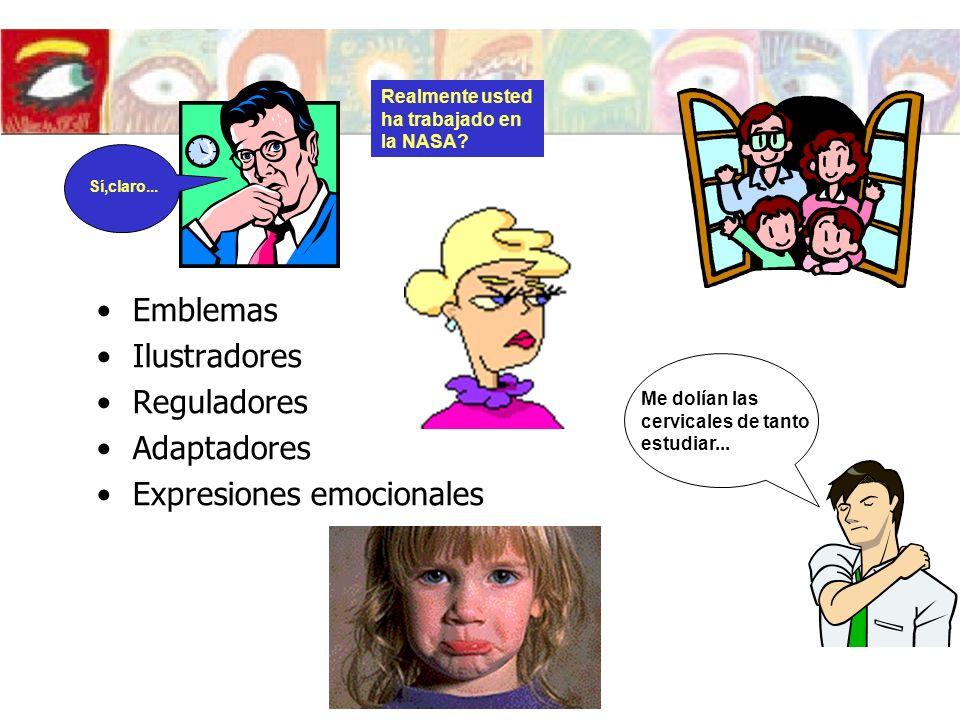 Emblemas Ilustradores Reguladores Adaptadores Expresiones emocionales Me dolían las cervicales de tanto estudiar... Realmente usted ha trabajado en la